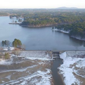 Frozen aerial of Lake Allatoona in Georgia